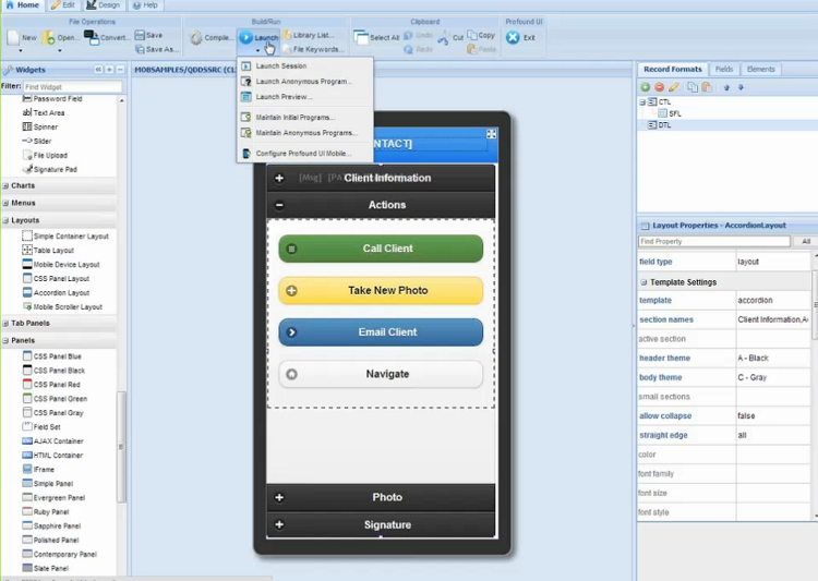 Use the Profound UI Visual Designer to create mobile applications, like you would Web applications